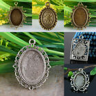 Tibetan Silver Bronze Oval Picture Photo Frame Macrame Pendant Charms Findings