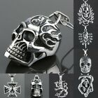 Men's Stainless Steel Cool Stylish Skull Head Snake Death Pendant Charms Jewelry