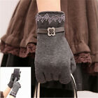 Fashion One Pair Women Touch Screen Lace Cotton Winter Warm Gloves Cute