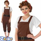 1940's Fancy Dress Costume Land Girl Womens World War 2 Outfit Army