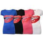 Ladies Top Womens T Shirt Sexy Red Hot Lip Biting Cap Sleeved Stretch Summer New