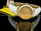 Invicta Women's Angel 18K Gold Plated Case White Genuine Leather Strap SS Watch