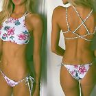 Women Print Floral Bikini Set Halter crop top hang High neck Bikinis set push up