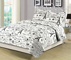 Twin, Queen, or King Size Bedding Quilt Set Paris Eiffel Tower, Black and White image