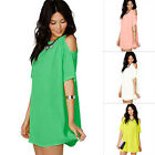 New Women Off Shoulder Short Sleeve Chiffon Cocktail Mini Dress Loose Blouse