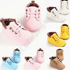 Newborn Baby Boy&Girl PU Leather Toddler Lace Soft Sole Shoes Kid Crib Sneaker