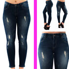 WOMENS LADIES SKINNY FIT RIPPED BLUE JEANS SEXY FADED DENIM SIZE 6 8 10 12 14
