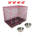 Portable Dog Cage Crate Puppy Pet Folding Carrier Training Cages Feeding Bowls