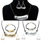 New Fashion Women Leather Bib Collar Earrings Bracelet Necklace Jewelry Set