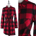 Button Down Long Sleeve Plaid Tunic Dress Front Chest Pockets with Belt S M L