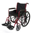 New Folding Wheelchair Self Propelled Lightweight Transit Footrest Armrest Brake