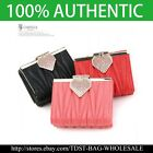 [OMNIA]Crystal Ladies Wallet Genuine Leather Trifold Purse ID Card CoinsBag387S  image