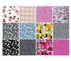 Floral Flower Cotton Fabric Material - Great Choice of Designs, Colours & Sizes