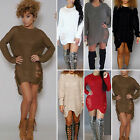 New Women's Long Sleeve Knitted Sweater Tops Oversize Pullover Jumper Mini Dress