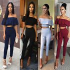 Women Crop Top Blouse + Pants Two-piece Playsuit Bodysuit Jumpsuit Romper Set P
