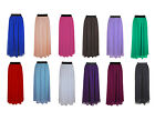 Maxi Skirt Women Long Retro Pleated Banded Elastic Waist High Quality Chiffon