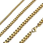 Stainless Steel Gold Box Chain Necklace (Choose Width and Length)