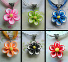 PRETTY FLOWER PENDANT NECKLACE NECKLACE POLYMER CLAY PINK BLACK RED BLUE