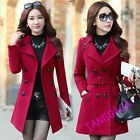 Trendy Womens Casual Lapel Woolen Double Breasted Slim Fit Trench Coat Overcoat
