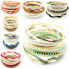 7Color New Fashion 6pcs/1set  Gold Plated Rope Pearl Beads Party Bracelet Bangle