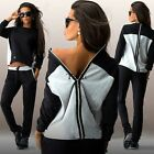 Women Tracksuit Hoodies Sweatshirt Pants Sets Sport Wear Zipper Casual Suit#2Pcs