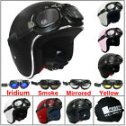 Leopard LEO-666 OPEN FACE Helmet Motorbike Metal Frame Flying Scooter Goggles