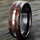 8mm Black Hi-Tech Ceramic Hawaiian Koa Wood & Abalone Band Ring - Engravable