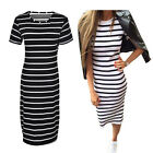 Fashion Women Casual Slim Striped Pullover Short Sleeve Tunic Shift Dress LAUS