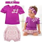 Toddler Baby Infant Clothes Girl Kids Top+Pant+Headband 3Pcs Outfit 0-3Y K0E1