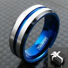 8mm Tungsten Men's Ring Blue Stripe & Inner Band w/ Black Edge Wedding Band