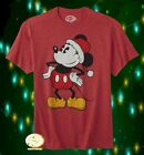 New Disney Mickey Mouse Santa Men's Christmas Vintage Classic T-Shirt