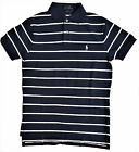 RALPH LAUREN Polo Man NAVY IVORY Stripe Pony Cotton Mesh Shirt Top S XXL £85