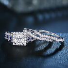 3pcs 2.5 Princess White Cz Blue 925 Sterling Silver Wedding Engagement Ring Set