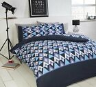 Signature Conard Geometric Duvet Set in Blue Available in Single Double and King