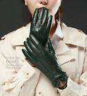 Lady's elegant back three lines with button top kid leather gloves
