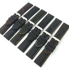 Flexible Silicone Watch Strap Black with Coloured Contrast Stitching 18mm - 28mm