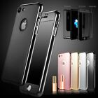 Metal Hybrid 360° Slim Mirror Case + Tempered Glass Case For iPhone 7 6 6S Plus