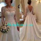Stock White/Ivory Long Sleeve Satin Wedding Dress Bridal Gown Stock Size 6 to 24