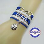 ATLANTA BRAVES Leather Woven Bracelet-ChOOse Charm! **FAST SHIPPING** on Ebay