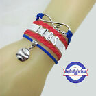 CHICAGO CUBS Leather Woven Bracelet-ChOOse Charm! **FREE SHIPPING