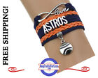HOUSTON ASTROS Leather Woven Bracelet-ChOOse Charm **FAST SHIPPING** on Ebay