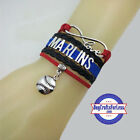 MIAMI MARLINS Leather Woven Bracelet-ChOOse Charm **FAST SHIPPING** on Ebay