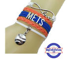 NEW YORK METS Leather Woven Bracelet-ChOOse Charm **FREE SHIPPING on Ebay