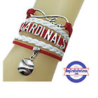 ST. LOUIS CARDINALS Leather Woven Infinity Bracelet **FREE SHIPPING** on Ebay