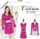 Womens Spring Vogue Slim Fit Trench Coat Double Breasted Long Belt Lovely Jacket