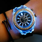 Fashion Unisex GENEVA Silicone Luminous Light Sport Quartz Rhinestone Wristwatch