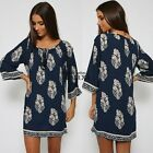 Women Floral Chiffon Loose 3/4 Sleeve Long Blouse Shirt Jumper Tunic Dress Top