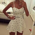 WOMEN CHIFFON DOTS SLEEVELESS BODYCON BEACH COCKTAIL PARTY MINI DRESS SUMMER TOP