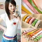 Womens Ladies waistbelt Party Candy Color NEW Girls Thin Skinny Buckle Belt