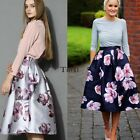 Women Swing Hepburn A Line Pleated High Waist Midi Skirt Party Ball Gown Dresses